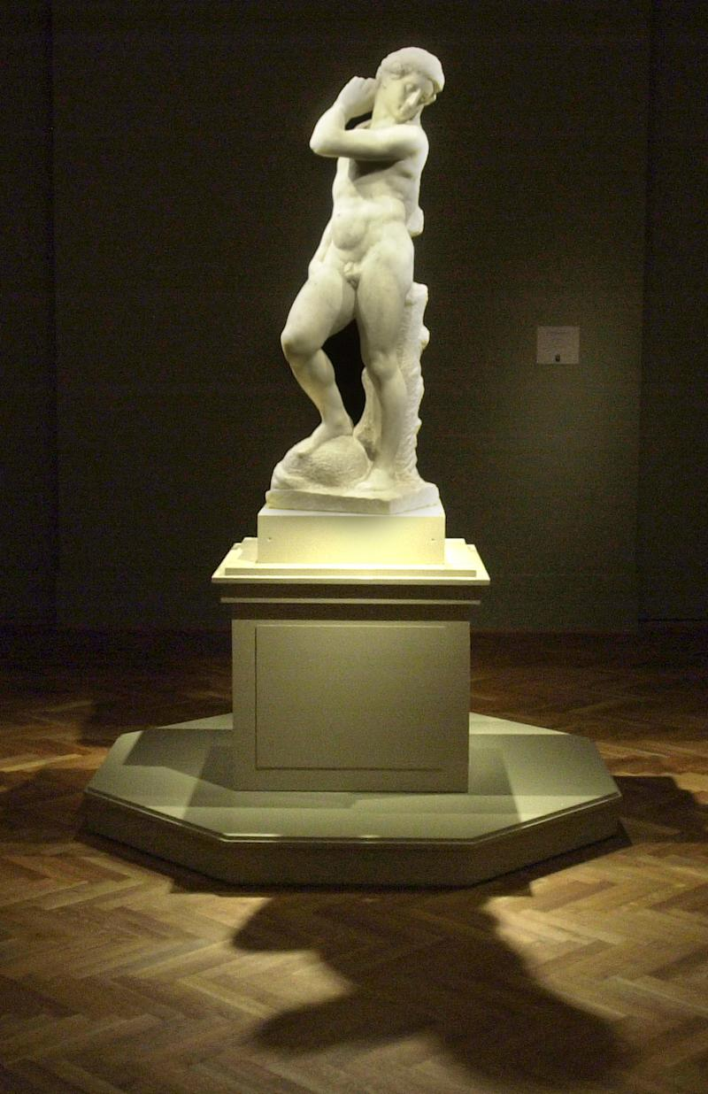 "FILE - In this Nov. 6, 2002, file photo Michelangelo's ""David-Apollo"" is bathed in light at the Art Institute of Chicago. The sculpture goes on view Thursday, Dec. 13, 2012, at the National Gallery of Art in Washington. The sculpture, from the year 1530, is on loan from the Museo Nazionale del Bargello in Florence, and was last shown in the U.S. capital in 1949 when it drew nearly 800,000 visitors. It was also a centerpiece for those who attended President Harry Truman's inaugural reception at the gallery.  (AP Photo/Brandi Jade Thomas, File)"