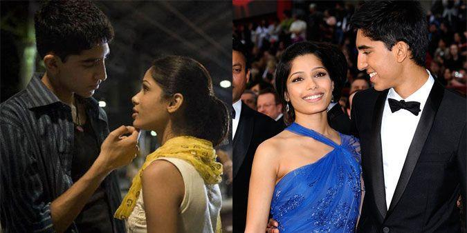 "<p><strong>The movie: </strong><span class=""redactor-invisible-space""><em>Slumdog Millionaire </em><span class=""redactor-invisible-space"">(2008)</span></span></p><p>The on-screen couple fell in love on the set of the Oscar-winning movie, and spent seven years together before splitting in 2014.</p>"