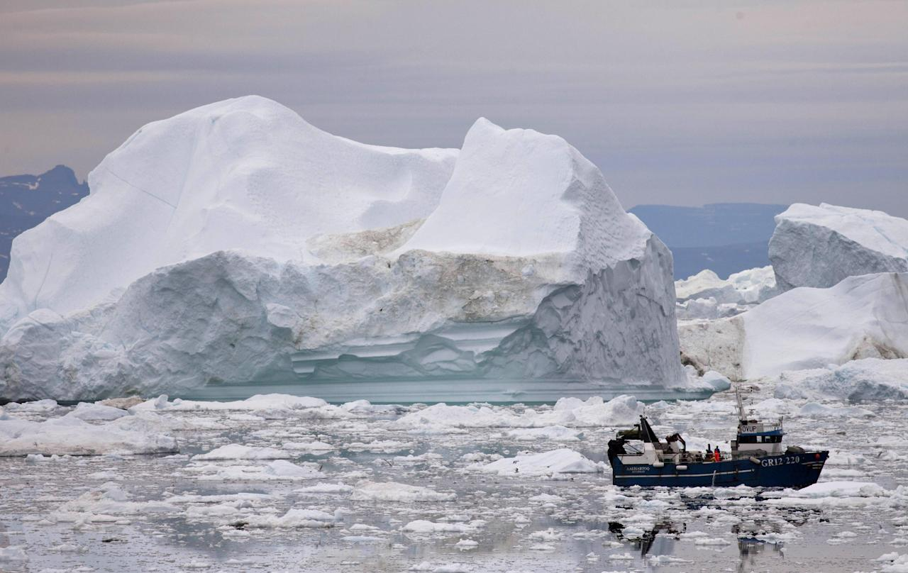 In this July 18, 2011 photo, a fishing boat weaves through icebergs shed from the Greenland ice sheet, near Ilulissat, Greenland. (AP Photo/Brennan Linsley)