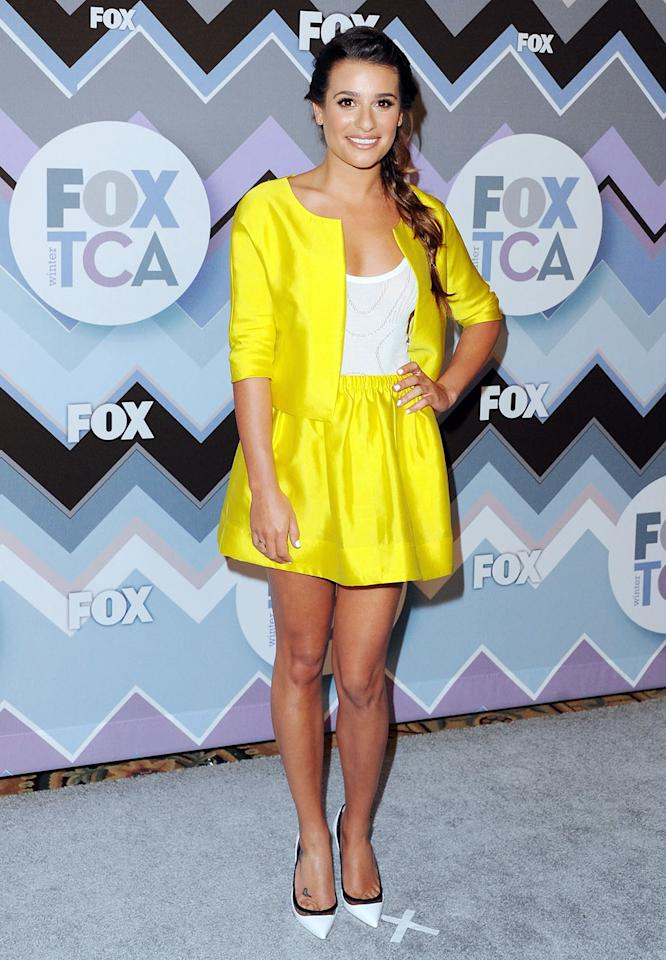 Lea Michele arrives at the 2013 Winter TCA FOX All-Star Party at The Langham Huntington Hotel and Spa on January 8, 2013 in Pasadena, California.