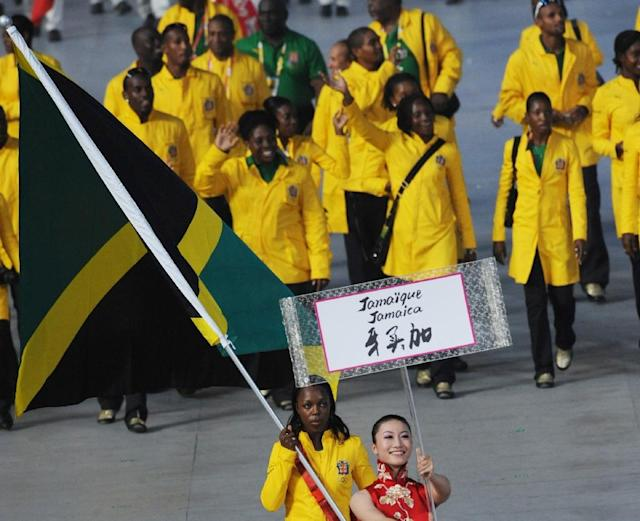 The Jamaican team is pictured at the 2008 Beijing Olympic Games opening ceremony (AFP Photo/WILLIAM WEST)