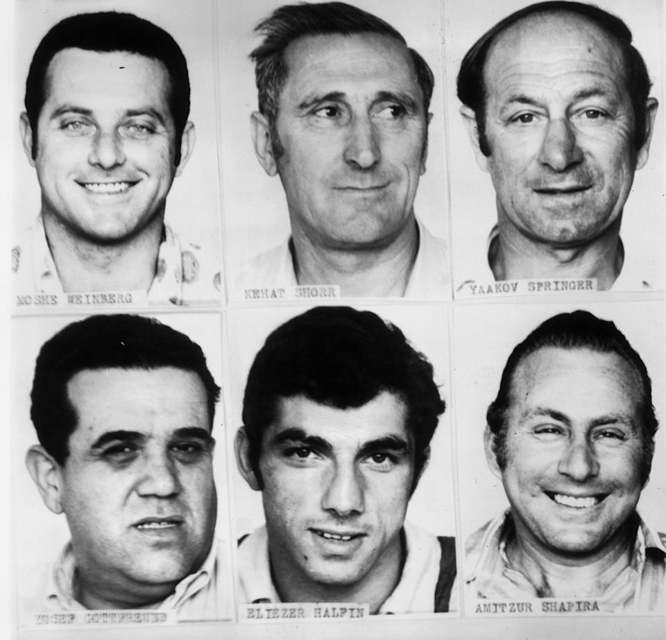 Headshots of six of the Israeli Olympic team members who were killed in the Palestinian terrorist attack.
