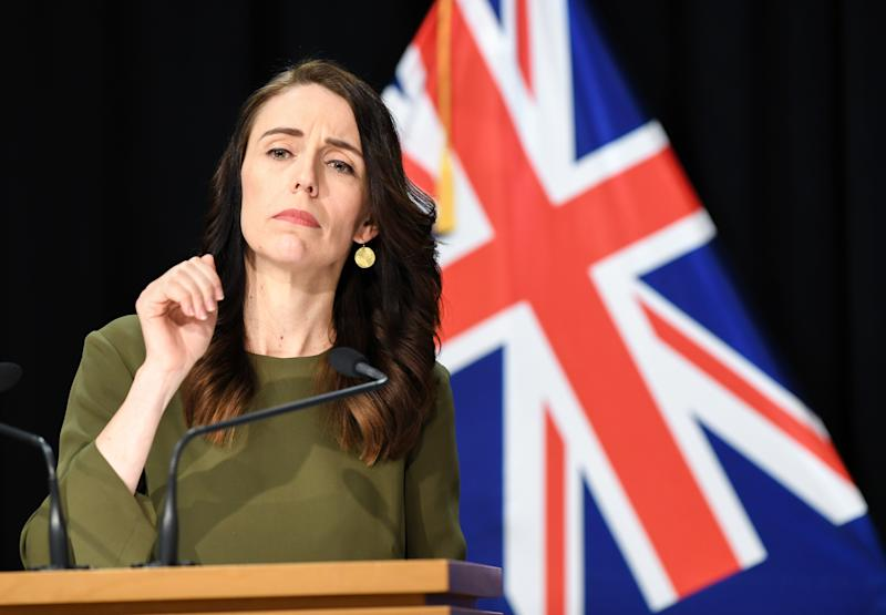 WELLINGTON, Aug. 17, 2020 -- New Zealand Prime Minister Jacinda Ardern attends a press conference held in the parliament building Beehive in Wellington, New Zealand, on Aug. 17, 2020. Jacinda Ardern confirmed on Monday that the general election will be held on Oct. 17, four weeks after Sept. 19 when the poll was originally scheduled for. (Photo by Guo Lei\Xinhua via Getty) (Xinhua/Guo Lei via Getty Images)