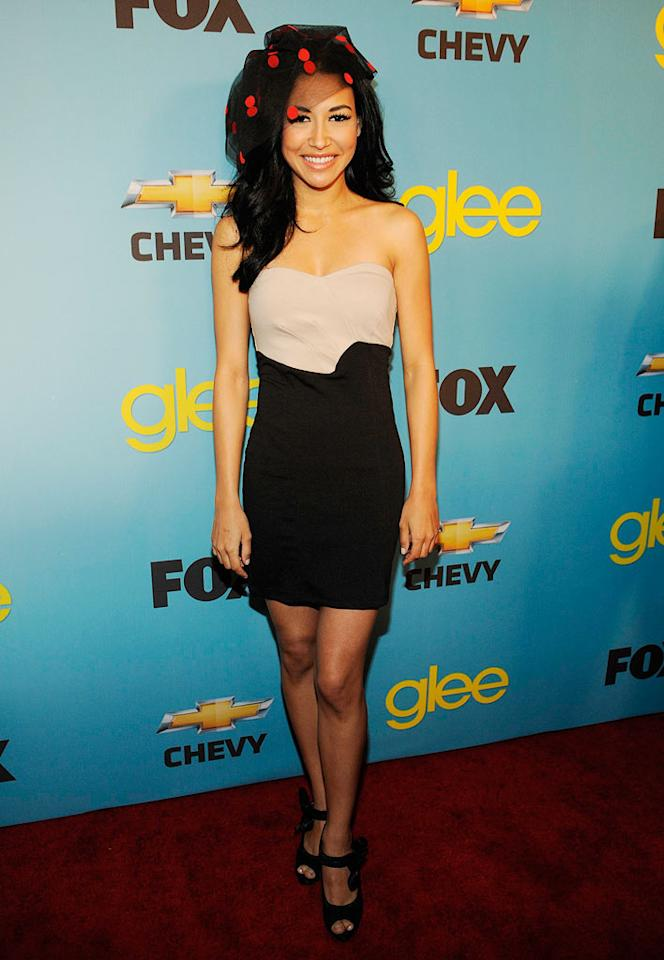 "<a href=""/naya-rivera/contributor/873411"">Naya Rivera</a> (""Santana Lopez"") arrives at Fox's <a href=""/glee/show/44113"">""Glee""</a> Spring Premiere Soiree at Chateau Marmont on April 12, 2010 in Los Angeles, California."
