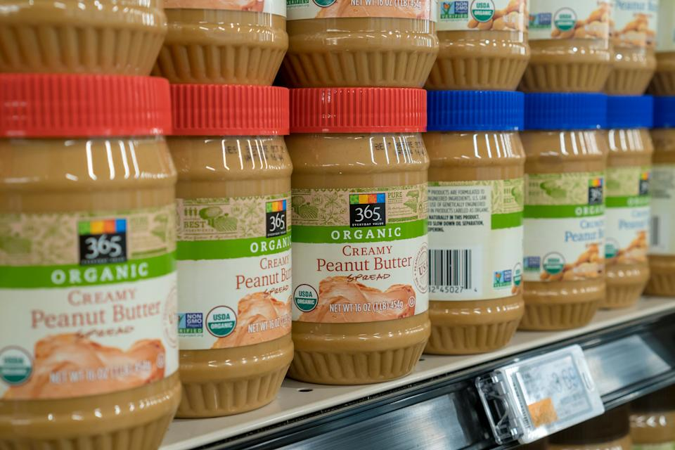 365 brand organic peanut butter in the new Whole Foods' 365 Fort Greene in the Fort Greene neighborhood of Brooklyn in New York on opening day Wednesday, January 31, 2018. Located near the Barclays Center the 30,000 square-foot store, their first on the East Coast, is a lower-cost alternative Whole Foods Market selling their 365 brand as well as merchandise from other food manufacturers. (�Photo by Richard B. Levine)