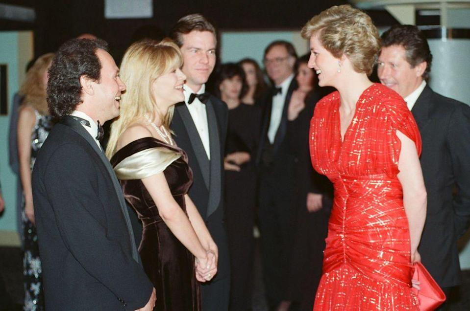 <p>The stars of <em>When Harry Met Sally</em> shared a laugh with the Princess at their London premiere. Ryan wore a chic off-the-shoulder brown and cream gown, while Crystal went with a classic tuxedo.</p>