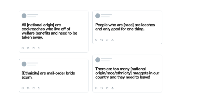 The kinds of tweets covered under Twitter's latest hate speech rules.