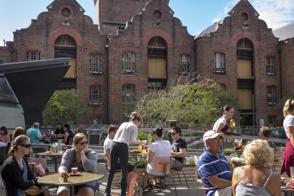 Australia, Sydney, The Rocks George Street historic district buildings Baroque restaurant bistro patisserie alfresco dining tables Bushells Place. (Photo by: Jeff Greenberg/Universal Images Group via Getty Images)