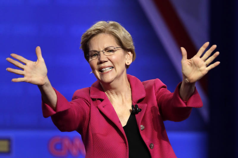 In this Oct. 10, 2019, photo, Democratic presidential candidate Sen. Elizabeth Warren, D-Mass., speaks during the Power of our Pride Town Hall in Los Angeles. (AP Photo/Marcio Jose Sanchez)