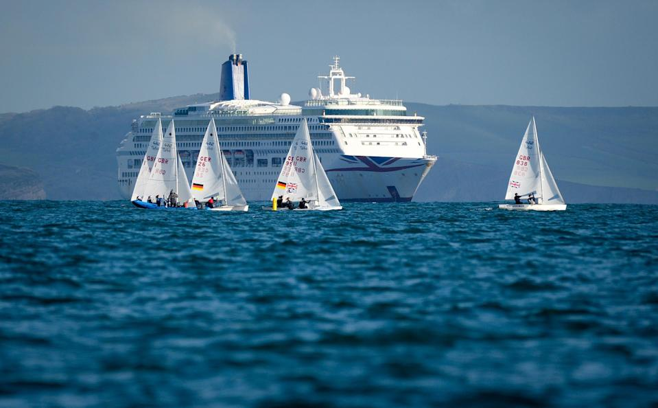 Many cruise ships have been floating, without passengers, off the British coast since March 2020 - FINNBARR WEBSTER