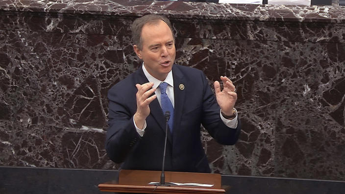 Rep. Adam Schiff answers a question during the impeachment trial against President Trump. (Senate Television via AP)
