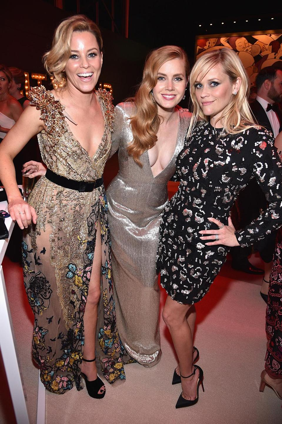 <p>(L-R) Elizabeth Banks, Amy Adams and Reese Witherspoon attend the 2017 Vanity Fair Oscar Party hosted by Graydon Carter at Wallis Annenberg Center for the Performing Arts on February 26, 2017 in Beverly Hills, California. (Photo by Kevin Mazur/VF17/WireImage) </p>