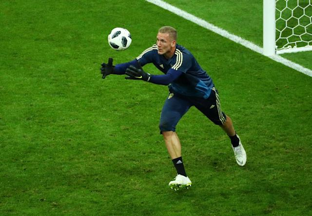 Soccer Football - World Cup - Group F - Germany vs Sweden - Fisht Stadium, Sochi, Russia - June 23, 2018 Sweden's Robin Olsen during the warm up before the match REUTERS/Hannah McKay