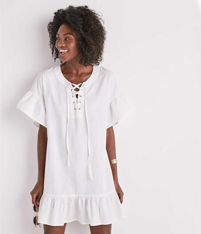 Casual, comfortable lace-up dress with peplum hem. (Photo: Lucky Brand)