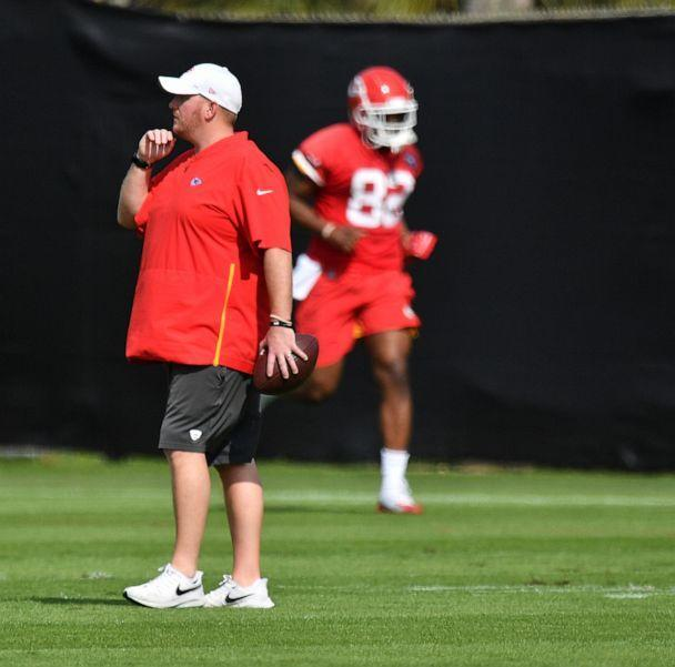 PHOTO: Linebackers coach Britt Reid during the Kansas City Chiefs practice prior to Super Bowl LIV at Baptist Health Training Facility at Nova Southern University, Jan. 30, 2020, in Davie, Fla. (Mark Brown/Getty Images, FILE)