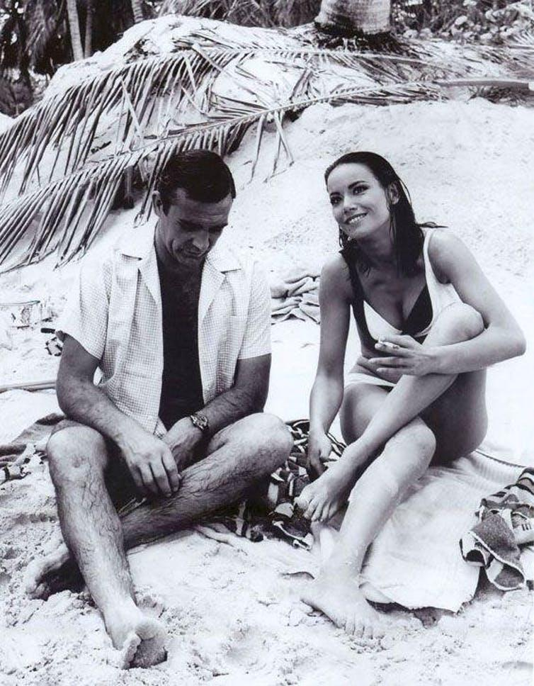 """<span class=""""caption"""">Claudine Auger and Sean Connery on set in Thunderball.</span> <span class=""""attribution""""><span class=""""source"""">RV1864 via Flickr</span></span>"""