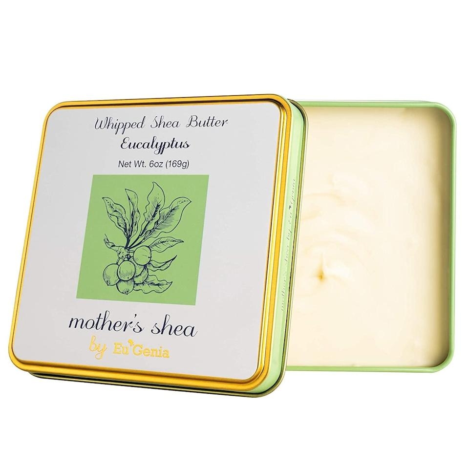 <p>Made from 100 percent pure and raw unrefined Africaxn Shea, the <span>Mother's Shea by Eu'Genia Whipped Shea Butter (Eucalyptus, 6 Oz Tin) </span> ($10), will soothe and moisturize your skin.</p>