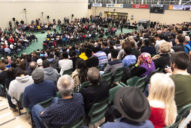 Prime Minister Justin Trudeau speaks during a town hall at University of Regina in Regina on Jan. 10, 2019.