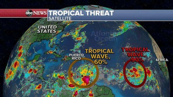 PHOTO: Elsewhere, the tropical Atlantic that is getting active, and two tropical waves are moving east and could form into a Tropical Depression in the next day or so. (ABC News)