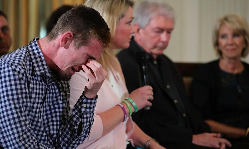 During the White House listening session Stoneman Douglas High School senior Samuel Zeif weeps after talking about how his best friend was killed in the shooting last week.