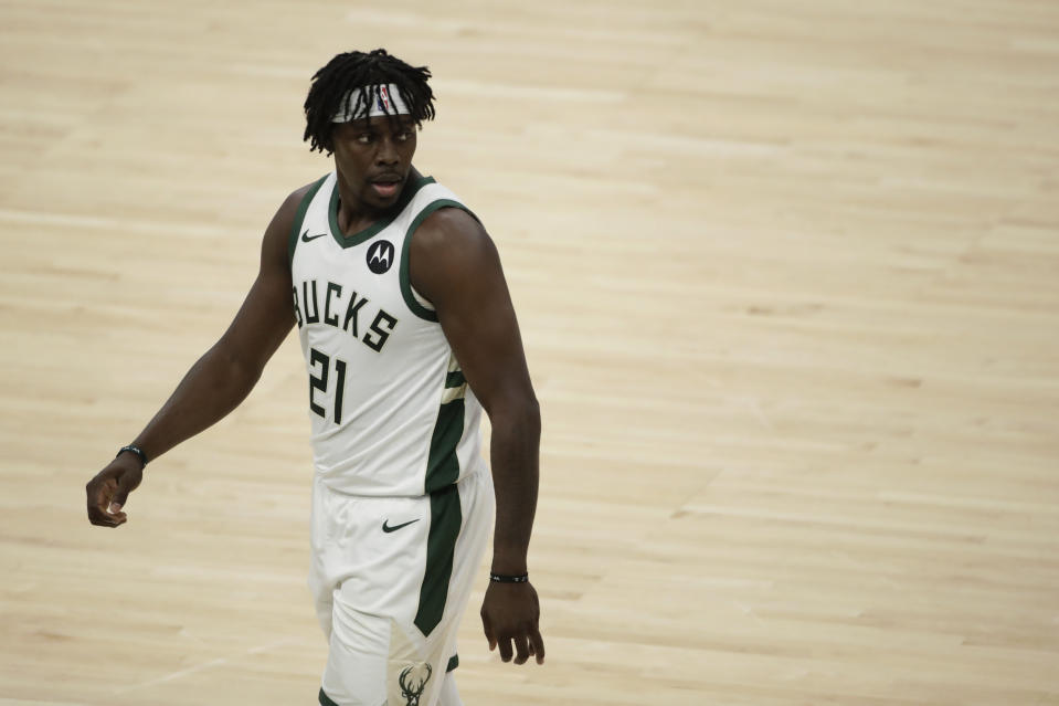 Milwaukee Bucks' Jrue Holiday during the first half of Game 5 of the NBA Eastern Conference Finals against the Atlanta Hawks Thursday, July 1, 2021, in Milwaukee. (AP Photo/Aaron Gash)
