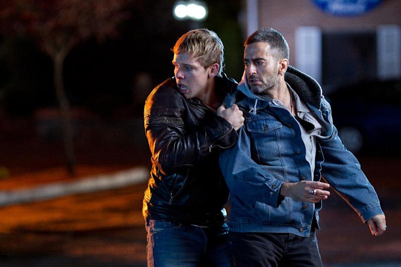 """This film image released by LD Entertainment shows Max Thieriot, left, and Marc Jacobs in a scene from """"Disconnect."""" (AP Photo/LD Entertainment)"""