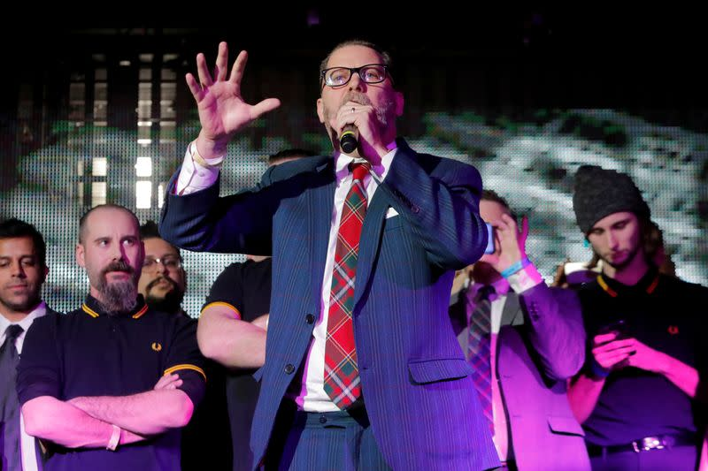 """FILE PHOTO: Vice magazine co-founder Gavin McInnes speaks during """"A Night for Freedom"""" event in Manhattan, New York"""