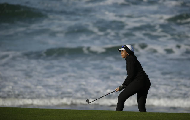 Condoleezza Rice follows her chip shot to the 10th green of the Pebble Beach Golf Links during the third round of the AT&T Pebble Beach Pro-Am golf tournament, Saturday, Feb. 9, 2019, in Pebble Beach, Calif. (AP Photo/Eric Risberg)