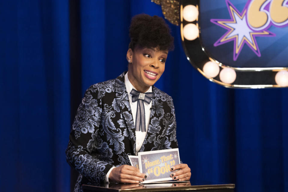 "This image released by Peacock shows Amber Ruffin from the comedy series ""The Amber Ruffin Show,"" available on the Peacock streaming service. (Virginia Sherwood/Peacock via AP)"