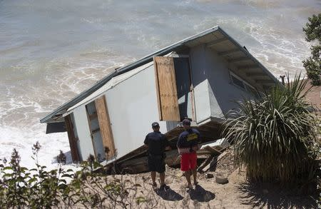 The Cove House Lifeguard Administrative Building is pictured after it was destroyed by waves in Point Mugu