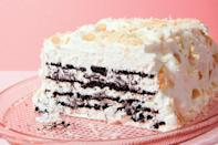 "Layer chocolate wafer cookies and coconut whipped cream into this impeccably easy no-bake dessert. A topping of big toasted coconut flakes makes a gorgeous finish. <a href=""https://www.epicurious.com/recipes/food/views/coconut-chocolate-icebox-cake-with-toasted-almonds?mbid=synd_yahoo_rss"" rel=""nofollow noopener"" target=""_blank"" data-ylk=""slk:See recipe."" class=""link rapid-noclick-resp"">See recipe.</a>"