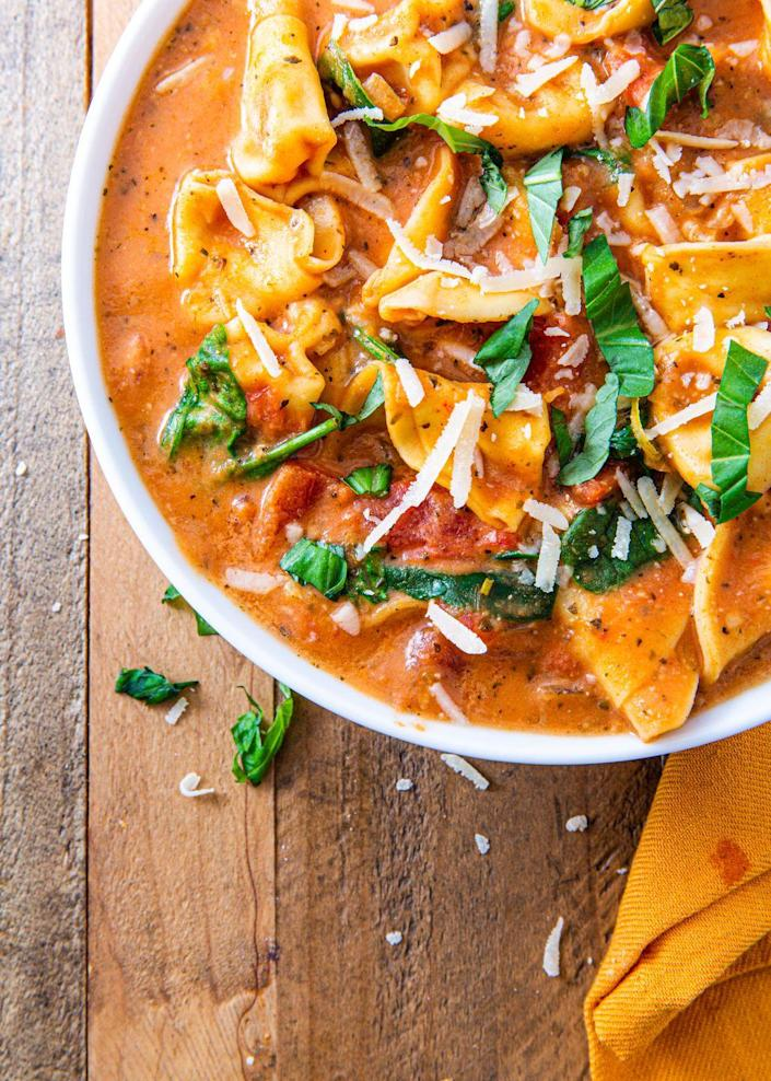 """<p>You can mix and match which veggies you want to use if you prefer something heartier!</p><p>Get the recipe from <a href=""""https://www.delish.com/cooking/recipe-ideas/recipes/a55557/creamy-parm-tomato-soup-recipe/"""" rel=""""nofollow noopener"""" target=""""_blank"""" data-ylk=""""slk:Delish"""" class=""""link rapid-noclick-resp"""">Delish</a>.</p>"""