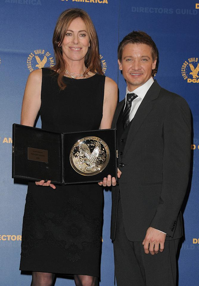 """<a href=""""http://movies.yahoo.com/movie/contributor/1800091098"""">Kathryn Bigelow</a> and <a href=""""http://movies.yahoo.com/movie/contributor/1804495026"""">Jeremy Renner</a> at the 62nd Annual Directors Guild of America Awards in Century City, California on January 30, 2010."""