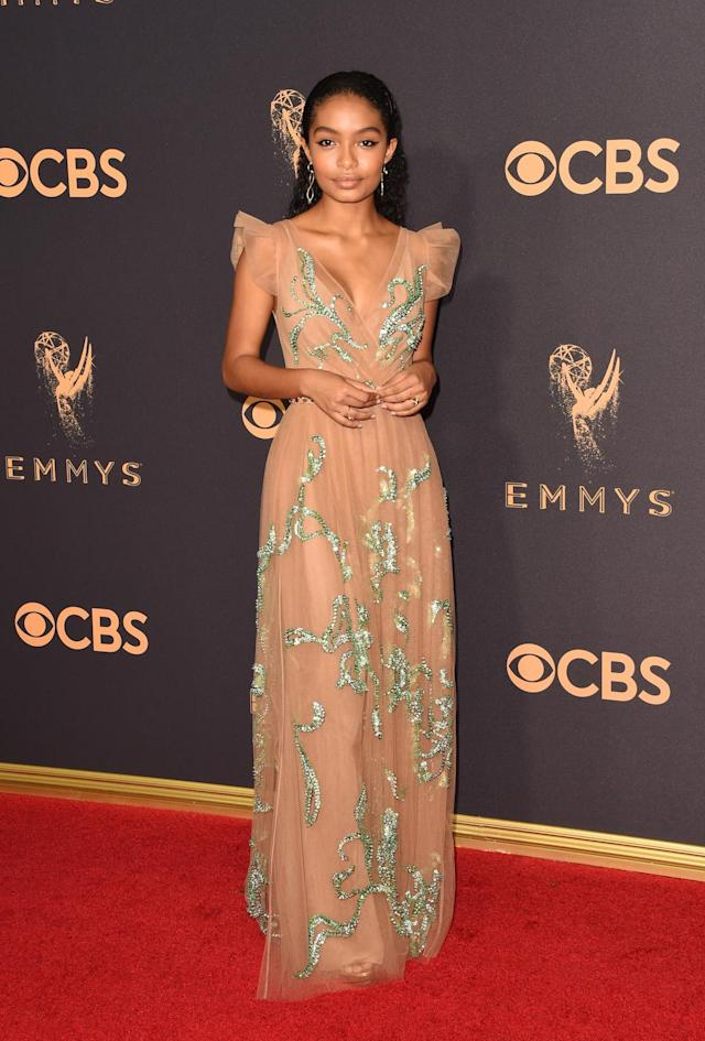 <p>Yara Shahidi attends the 69th Primetime Emmy Awards on Sept. 17, 2017.<br> (Photo: Getty Images) </p>