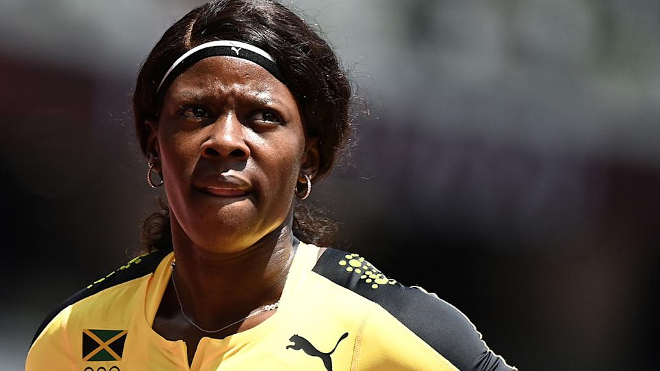 Jamaica's Shericka Jackson has been fiercely criticised after pulling up early in the women's 200m sprint and subsequently missing the semi-finals. (Photo by JEWEL SAMAD/AFP via Getty Images)