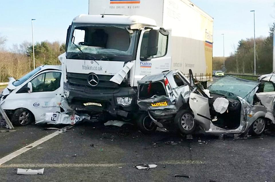 A lorry driver whose dangerous actions killed a 91-year-old woman and severely injured two men has been jailed for three years and four months.  See SWNS story SWLElorry. Leon Stott, 35, of St Davids Road, Leyland, has admitted causing death by dangerous driving and two counts of causing serious injury by dangerous driving.  Margaret Harrison, 91, from Orrell, Wigan, died following an accident involving a Mercedes Rigid HGV driven by Stott on January 8 last year on the M58 at Skelmersdale, and van driver David Collier and Audi driver Craig Howroyd suffered serious injuries.