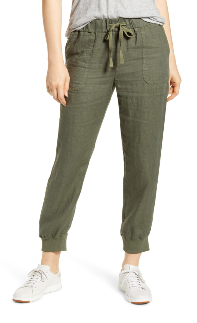 Caslon Linen Jogger Pants in Green Beetle.