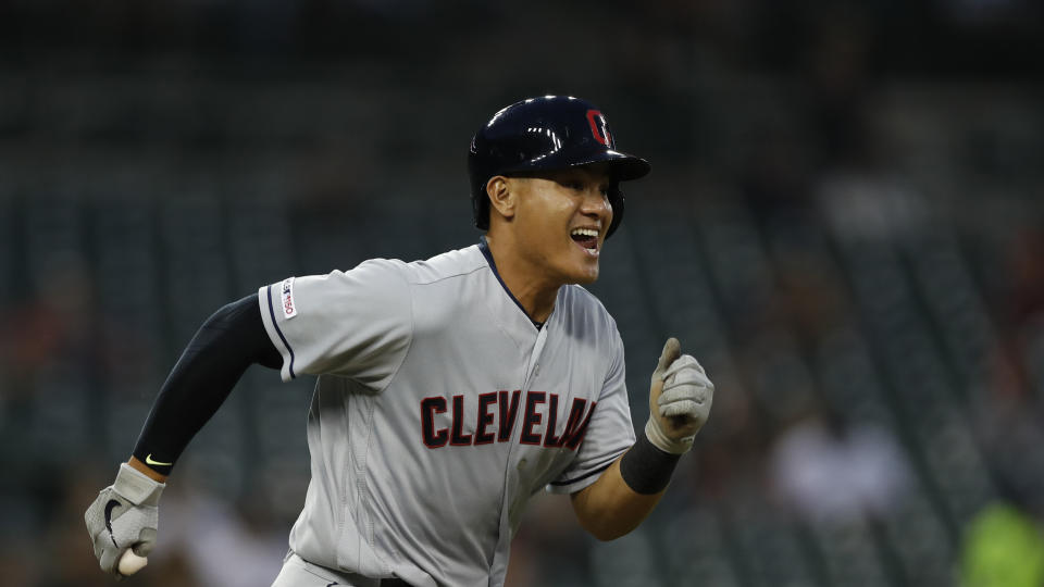 Cleveland Indians' Yu-Cheng Chang runs to first during the fifth inning of a baseball game, Wednesday, Aug. 28, 2019, in Detroit. (AP Photo/Carlos Osorio)