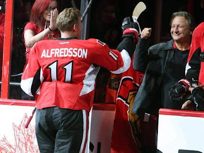 Whatever bad feelings there were after Alfredsson departed for Detroit, they seemed to fade away. (AP)