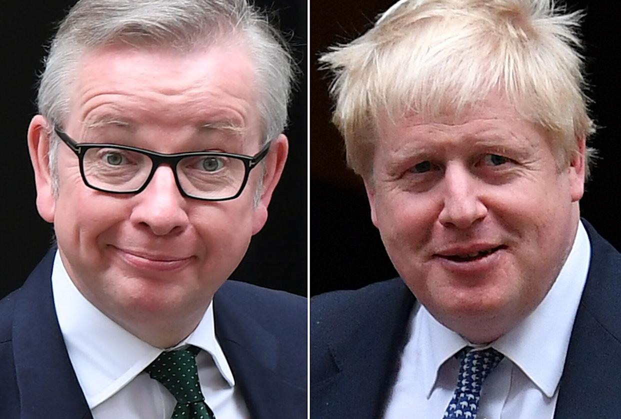 A combination of pictures created in London on May 26, 2019 shows recent pictures of declared contenders to replace Britain's Prime Minister Theresa May when she resigns on June 7: Britain's Environment, Food and Rural Affairs Secretary Michael Gove (L) and former foreign secretary Boris Johnson (R) both pictured leaving 10 Downing Street, central London. - The race to become Britain's next premier  heated up on May 26, 2019 as Environment Secretary Michael Gove joined an already crowded field of hopefuls with competing visions of how to finally pull their divided country out of the EU. Gove's bid for the leadership in the aftermath of the 2016 Brexit referendum scuppered the chances of his one-time ally Boris Johnson, who is also running this time around and is seen as the current favourite. (Photo by STF / AFP)        (Photo credit should read STF/AFP/Getty Images)