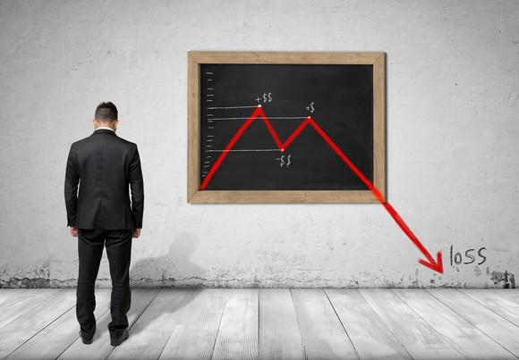 A businessman disappointed by a stock chart showing losses drawn on a chalkboard in front of him.
