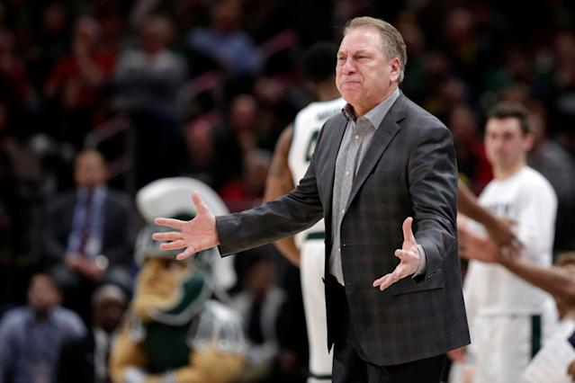 Tom Izzo's Spartans failed to garner a No. 1 seed and got the toughest draw of the No. 2 seeds. (AP)