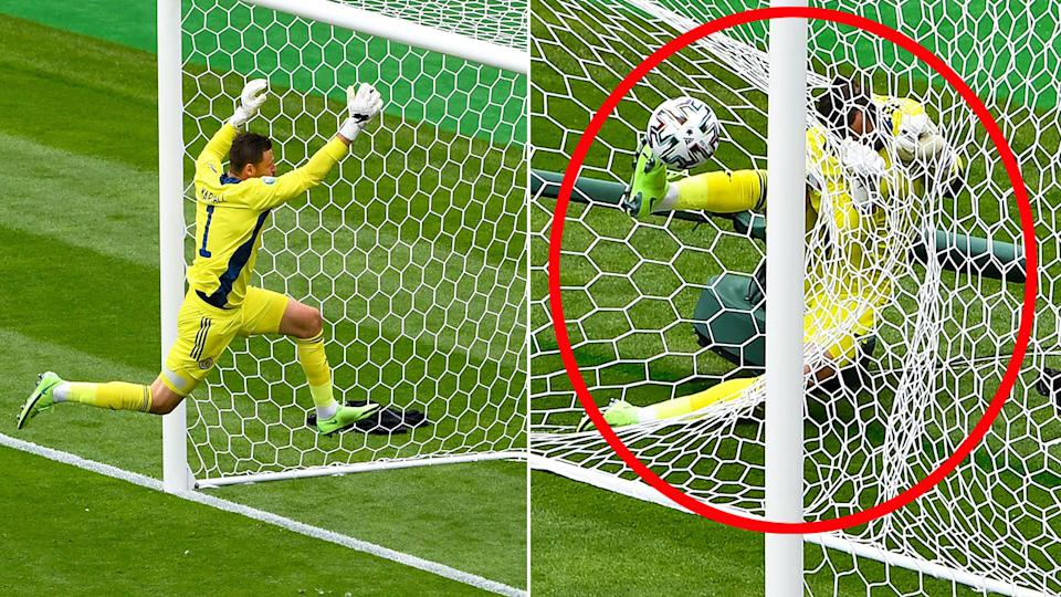Seen here, Scotland keeper David Marshall ends up tangled in the net after trying to stop a long-range shot.