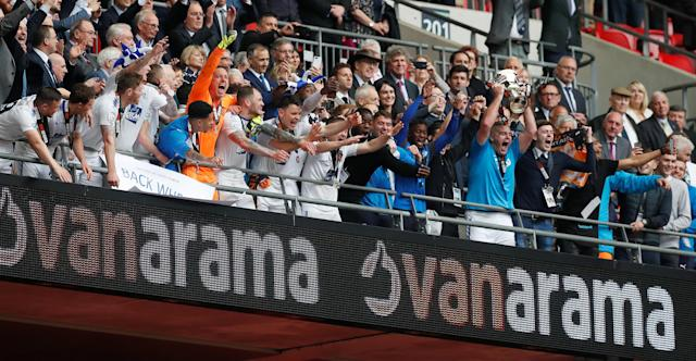 Soccer Football - National League Promotion Final - Tranmere Rovers v Boreham Wood - Wembley Stadium, London, Britain - May 12, 2018 Tranmere Rovers celebrate with the trophy after the match Action Images/Matthew Childs