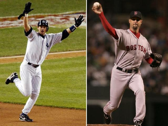 New Yankees manager Aaron Boone and Red Sox analyst Tim Wakefield were together again on the field nearly 15 years after a dramatic and historic postseason clash. (AP Photos)