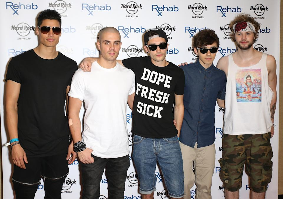 LAS VEGAS, NV - APRIL 27:  (L-R) Singers Siva Kaneswaran, Max George, Tom Parker, Nathan Sykes and Jay McGuiness of The Wanted arrive at the Hard Rock Hotel & Casino during the resort's Rehab pool party on April 27, 2014 in Las Vegas, Nevada.  (Photo by Gabe Ginsberg/FilmMagic)