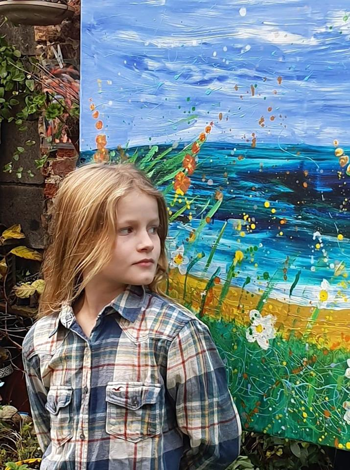 Daisy Watt only started painting four years ago when two of her grandparents were diagnosed with cancer and she painted them a picture to cheer them up. Her mum Karen, 50, spotted her talent, and asked if she'd like to paint a canvas to be displayed at a local gallery and auctioned for two cancer charities. Bidders from all over the world fought to buy the work featuring forget-me-nots for those who had died and bright flowers for those who survived, and it went for £9,500