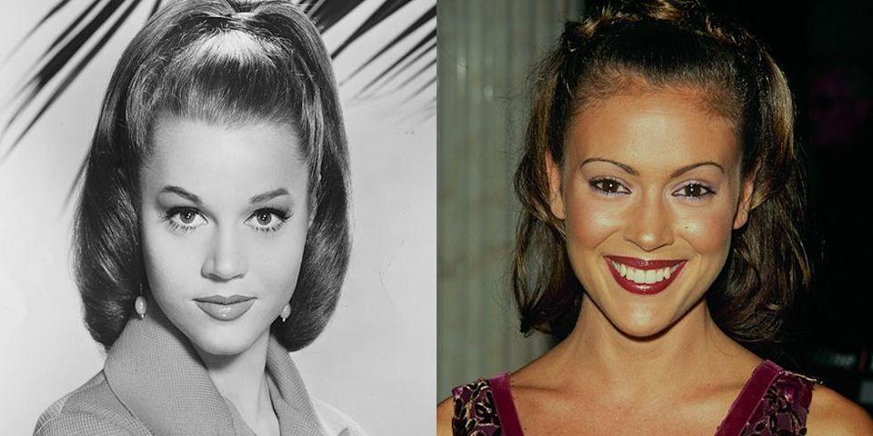<p>From their heart-shaped faces to their arched brows, actresses Jane Fonda and Alyssa Milano may have broken into the business in different decades, but they could play sisters. </p>