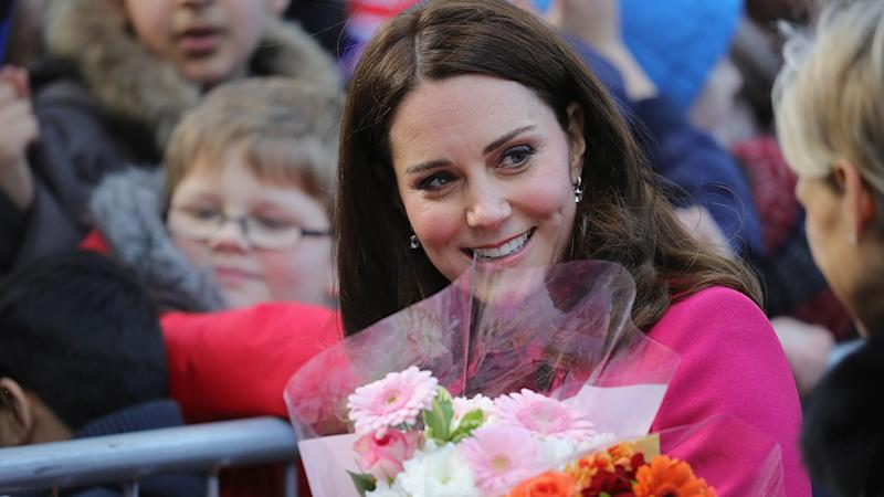 Kate Middleton Recycles Fuchsia Maternity Coat on Public Outing With Prince William: Pics!