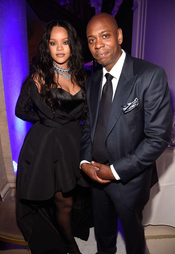 Rihanna and Dave Chappelle attend Rihanna's 3rd Annual Diamond Ball Benefitting The Clara Lionel Foundation at Cipriani Wall Street on September 14, 2017 in New York City. (Photo by Kevin Mazur/Getty Images for Clara Lionel Foundation)
